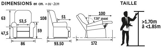 Dimensions + taille Chauffant Massant